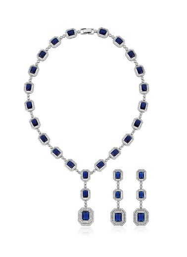 Tophills Diamond Co. 12 Ct Pırlanta Efekt Altın - 45 Ct Sapphire Gerdanlık Set   Renkli